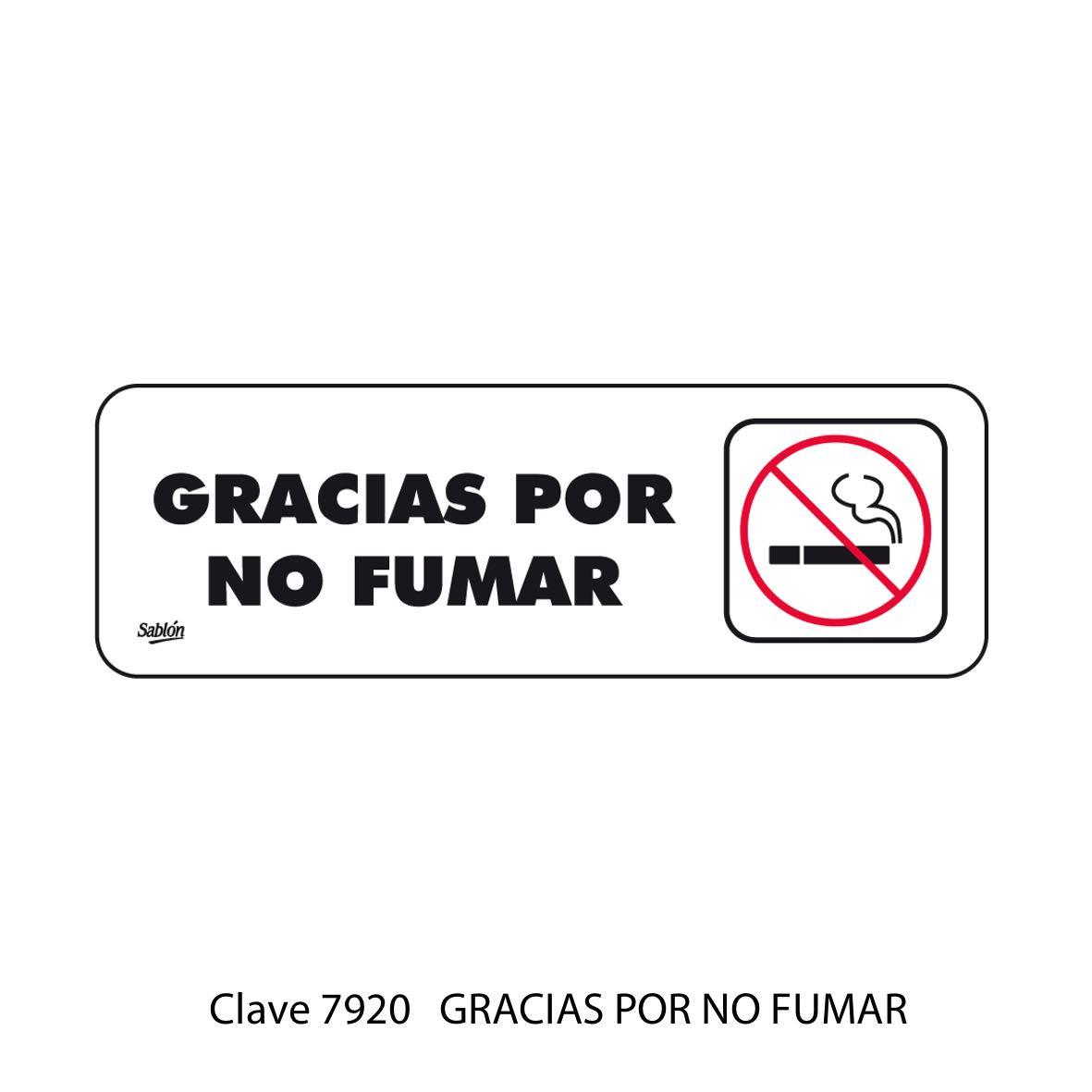 Señal Gracias por No Fumar Modelo 7920 - Sablón