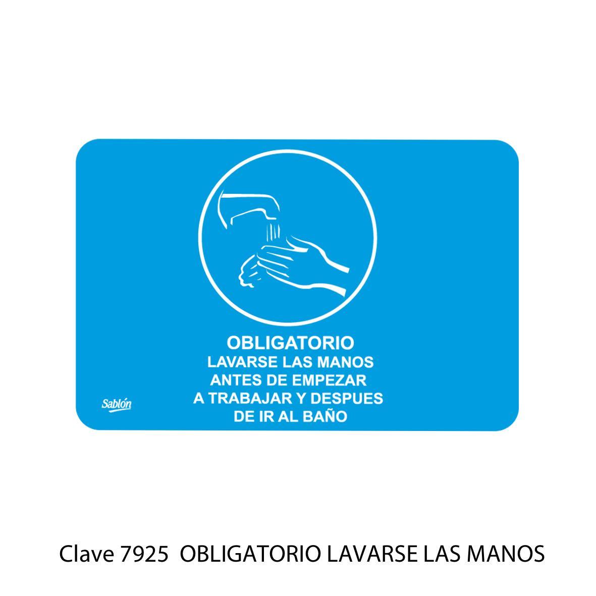 Señal Obligatorio Lavarse las Manos Modelo 7925 - Sablón