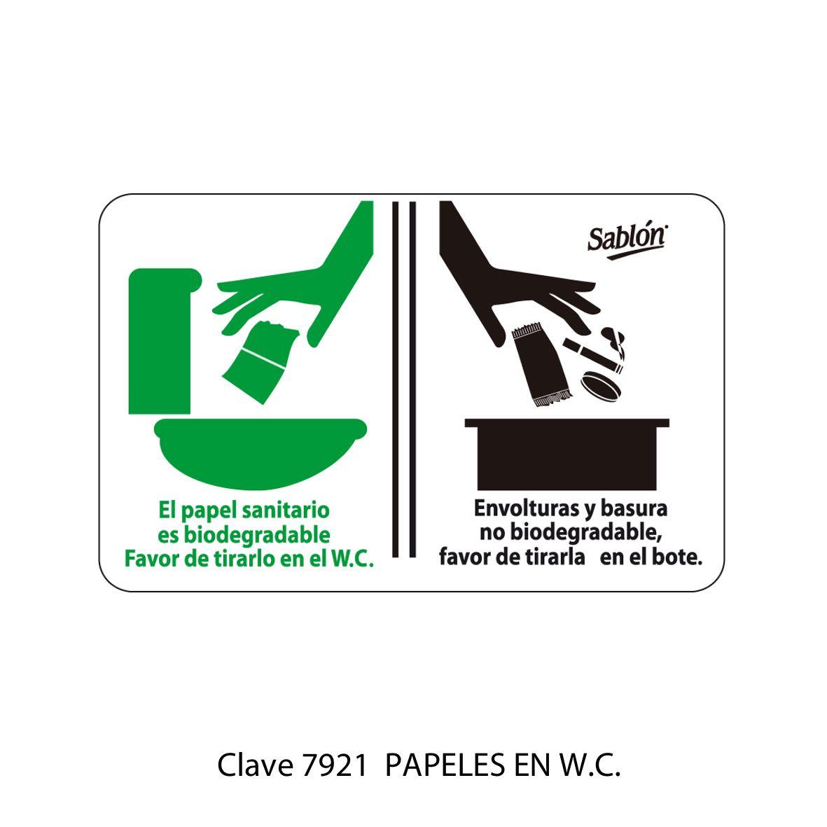Señal Poner Papeles en el WC Modelo 7921 - Sablón