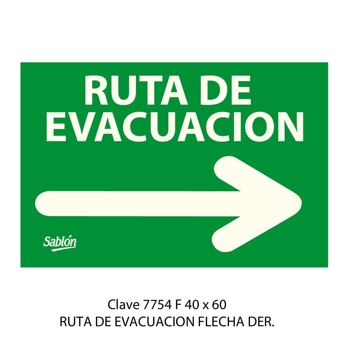 Señal Ruta de Evacuación Flecha a la Derecha Modelo 7754F - Sablón