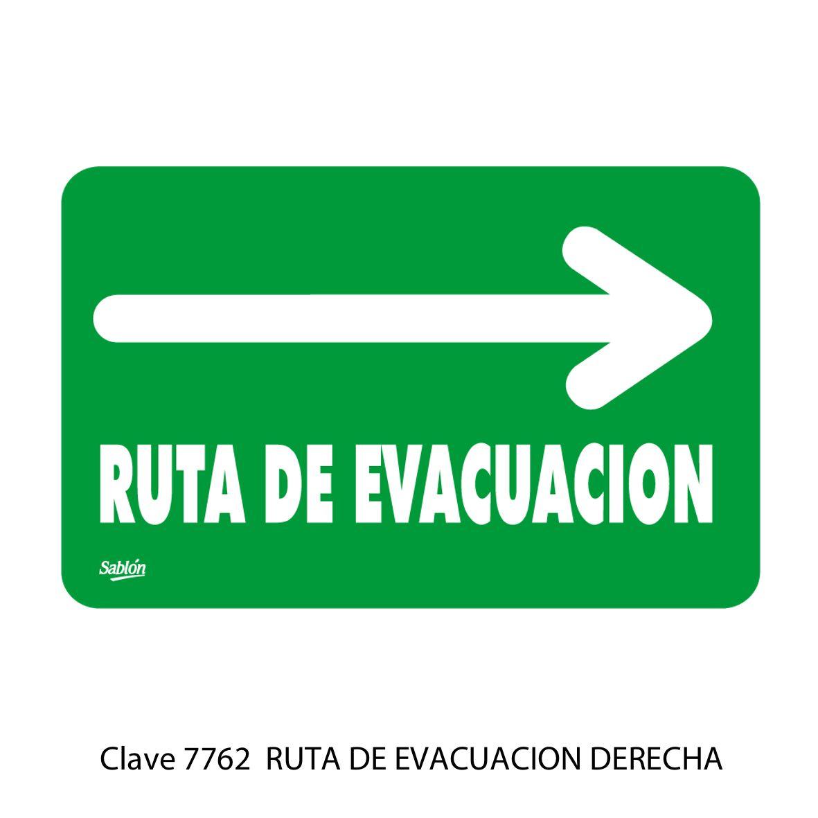 Señal Ruta de Evacuación Flecha a la Derecha Modelo 7762 - Sablón