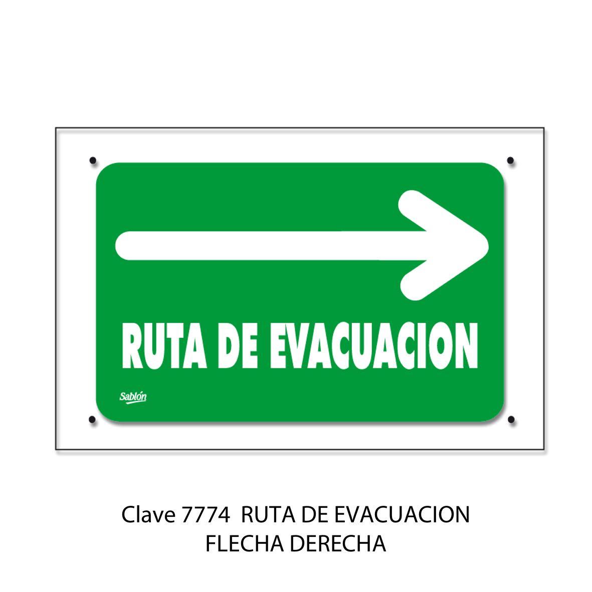 Señal Ruta de Evacuación Flecha hacia la Derecha Modelo 7774 - Sablón