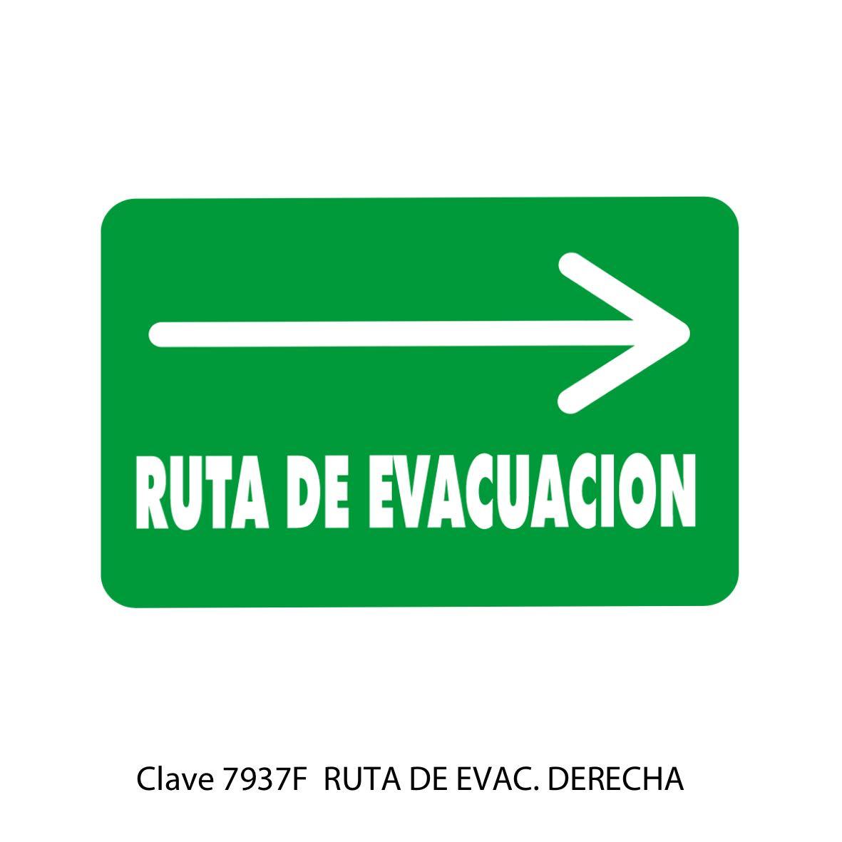 Señal Ruta de Evacuación Flecha hacia la Derecha Modelo 7937 F - Sablón
