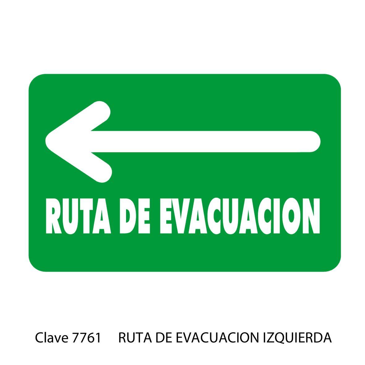 Señal Ruta de Evacuación Flecha hacia la Izquierda Modelo 7761 - Sablón