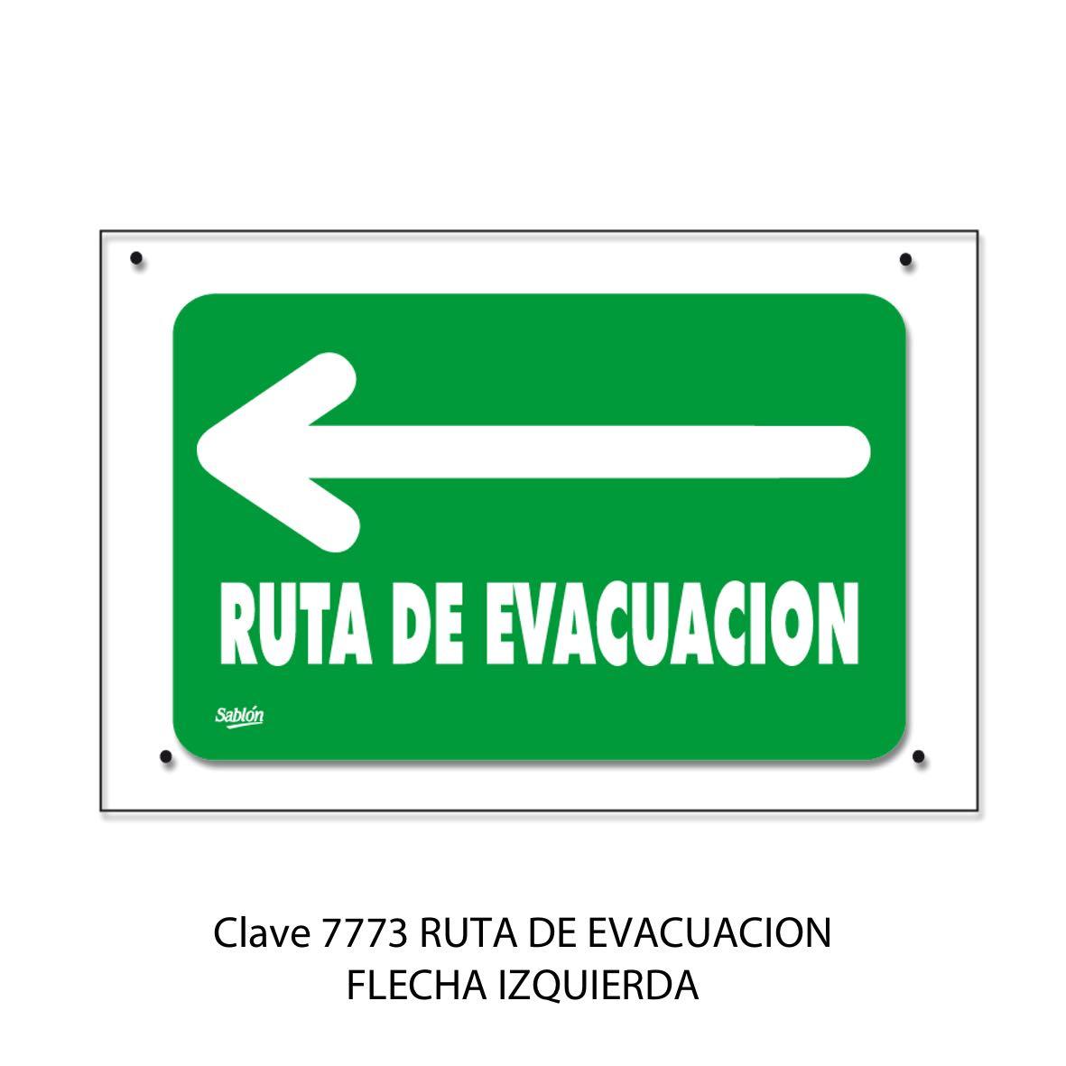 Señal Ruta de Evacuación Flecha hacia la Izquierda Modelo 7773 - Sablón