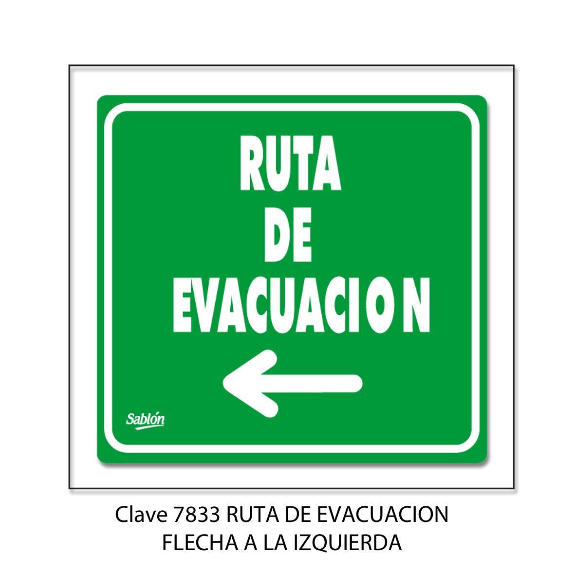 Señal Ruta de Evacuación Flecha hacia la Izquierda Modelo 7833 - Sablón