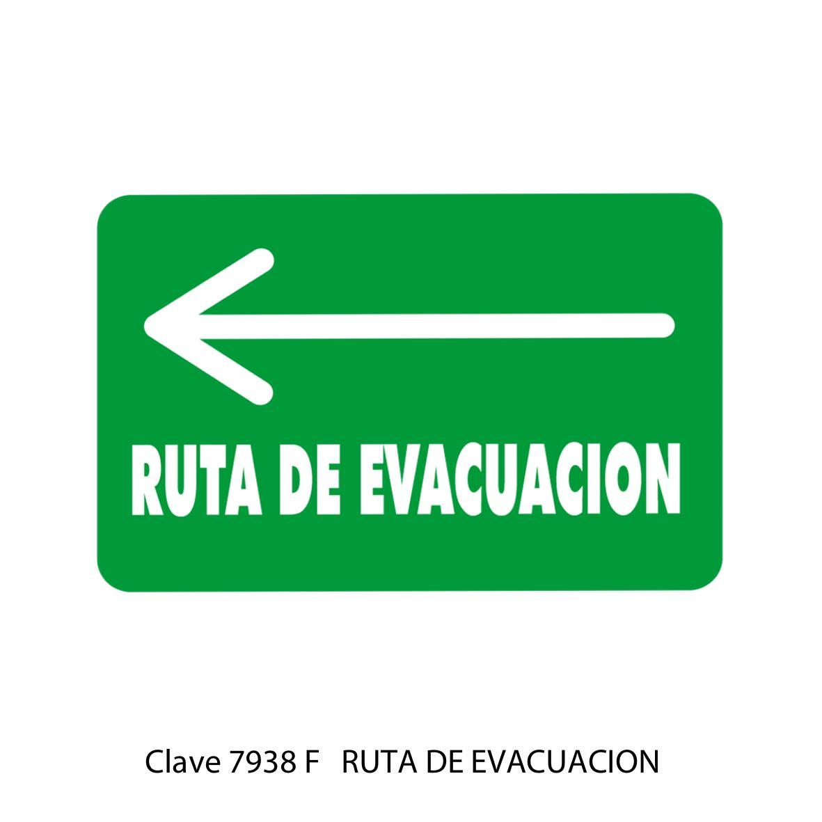 Señal Ruta de Evacuación Flecha hacia la Izquierda Modelo 7938 F - Sablón