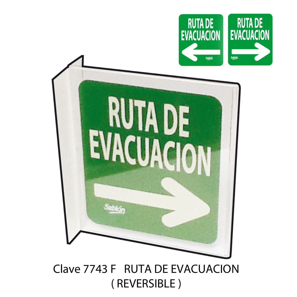 Señal Ruta de Evacuación Modelo 7743 F Sablón