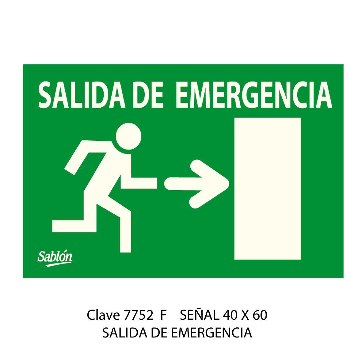 Señal Salida de Emergencia Modelo 7752 F - Sablón