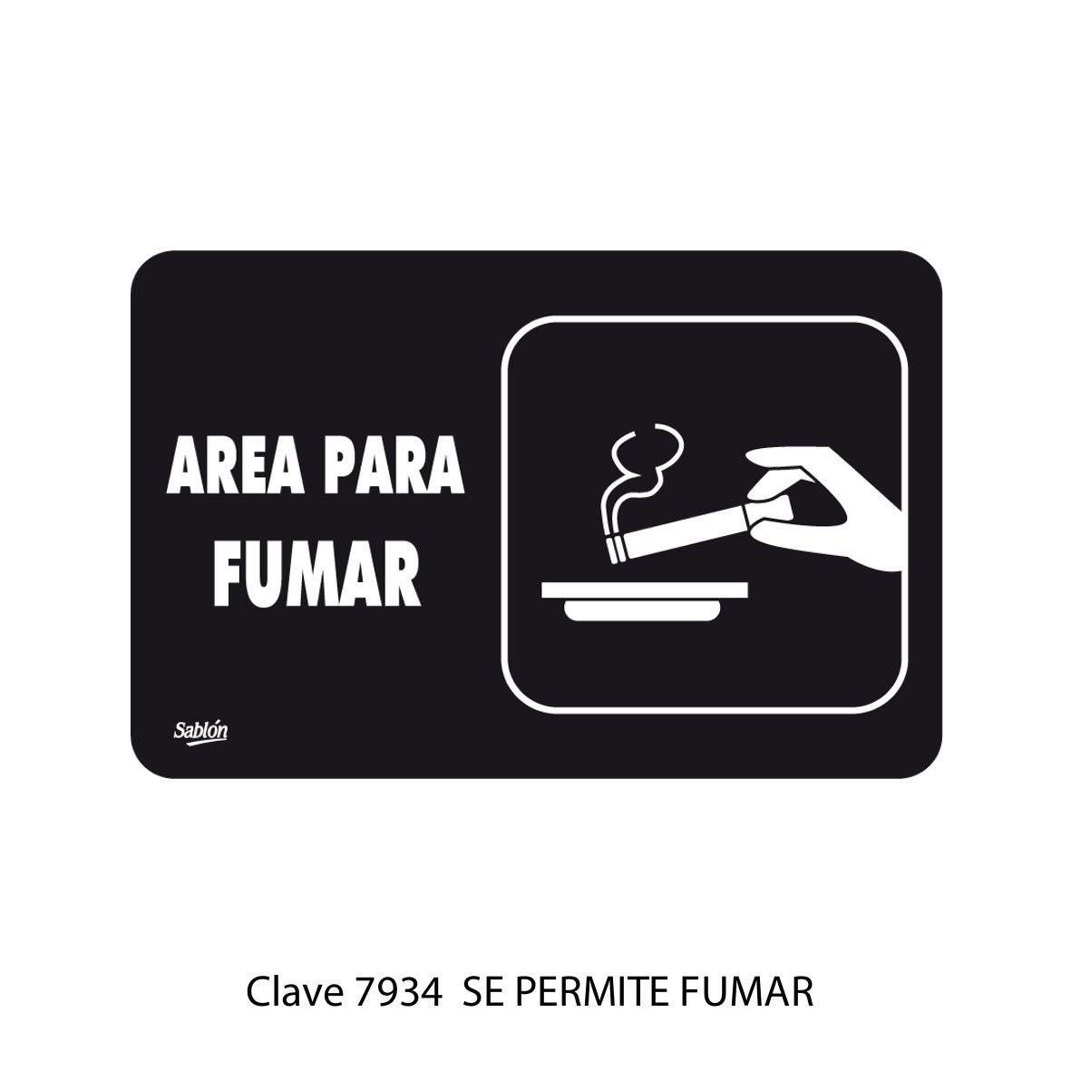 Señal de Se Permite Fumar Modelo 7934 - Sablón