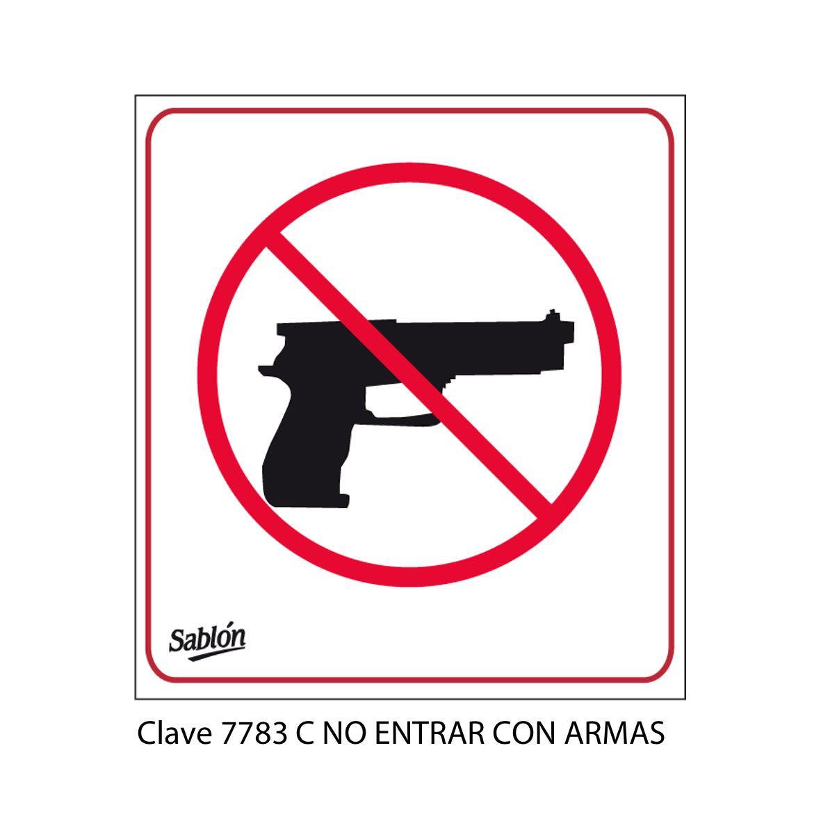 Señal no entrar con Armas Modelo 7783 C - Sablón