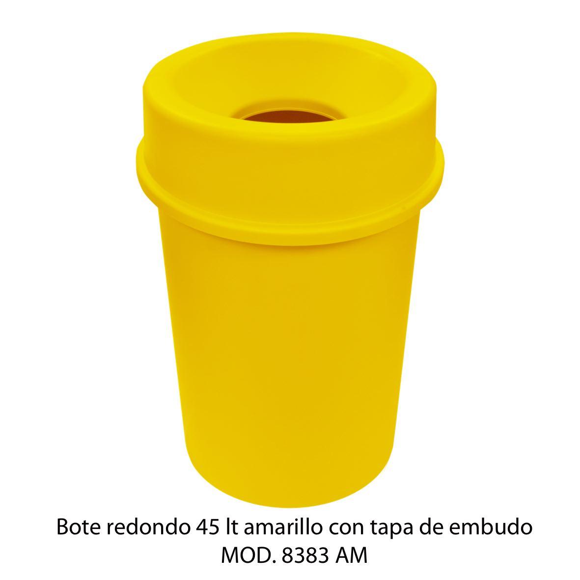 Bote de basura redondo 45 litros con tapa de embudo color amarillo modelo 8383 AM Sablón