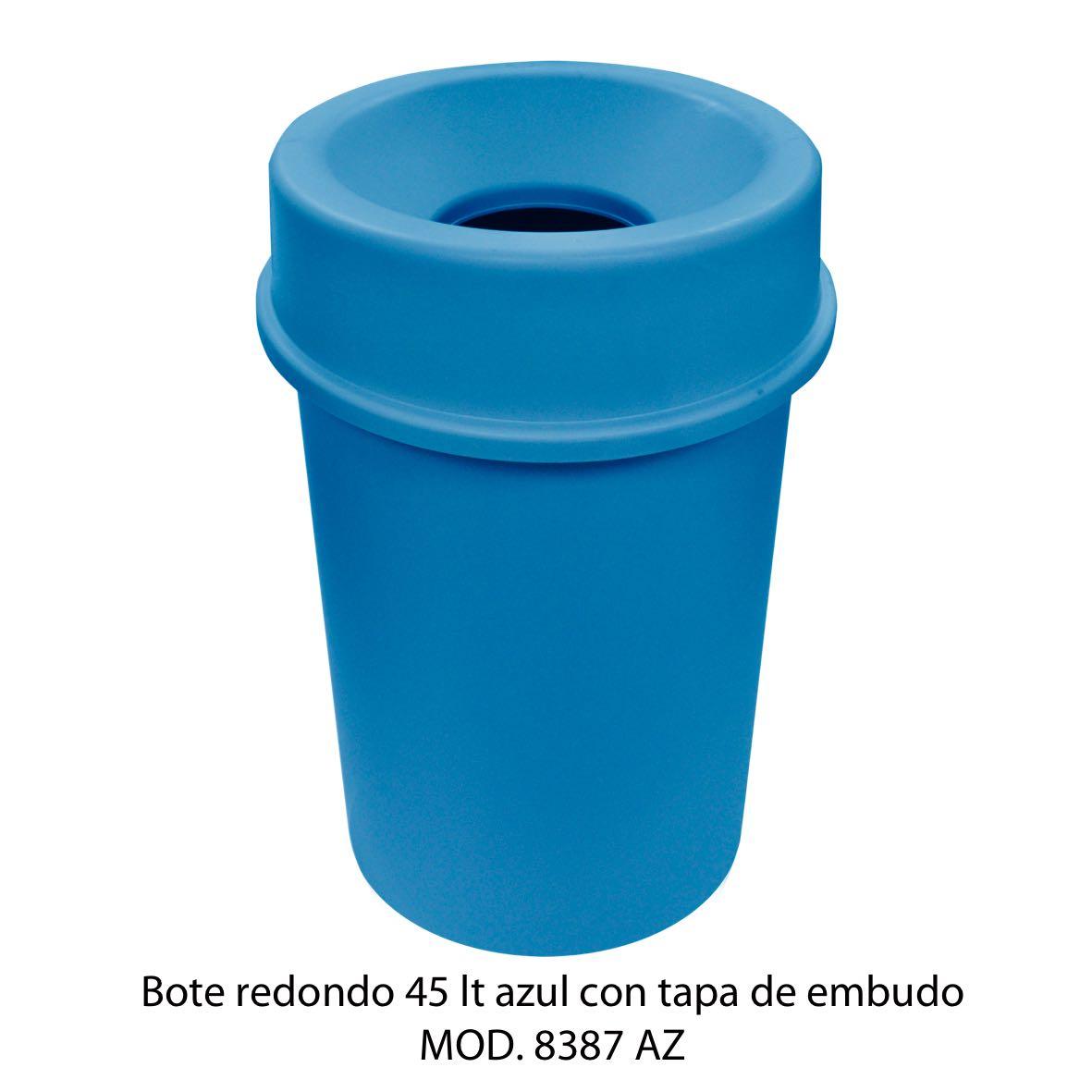 Bote de basura redondo 45 litros con tapa de embudo color azul modelo 8387 AZ Sablón