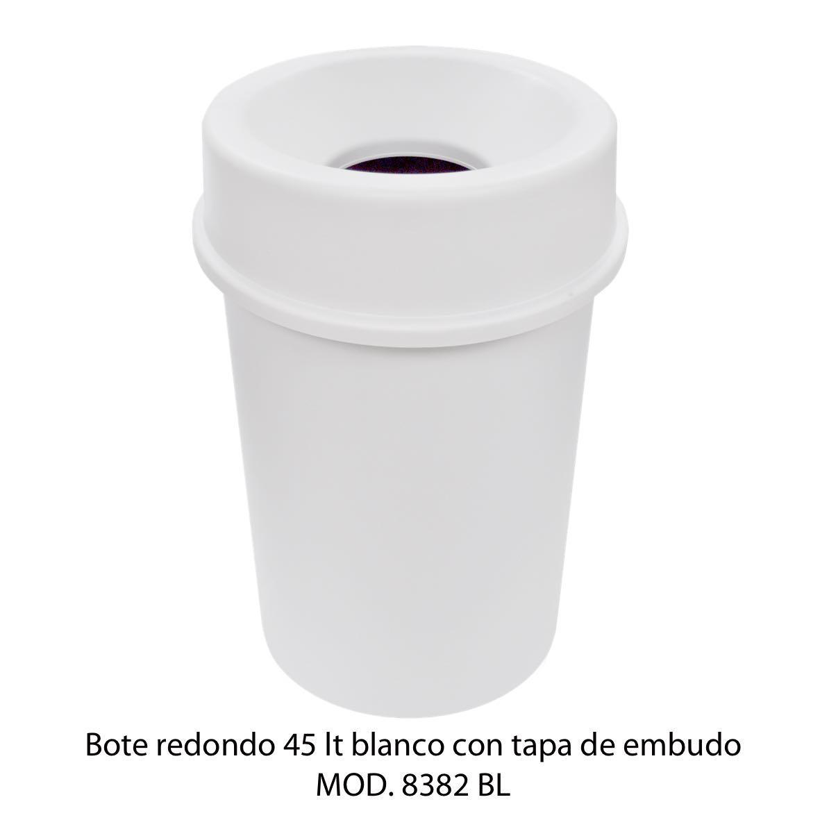 Bote de basura redondo 45 litros con tapa de embudo color blanco modelo 8382 BL Sablón