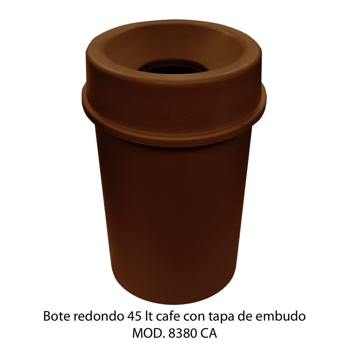 Bote de basura redondo 45 litros con tapa de embudo color cafe modelo 8380 CA Sablón