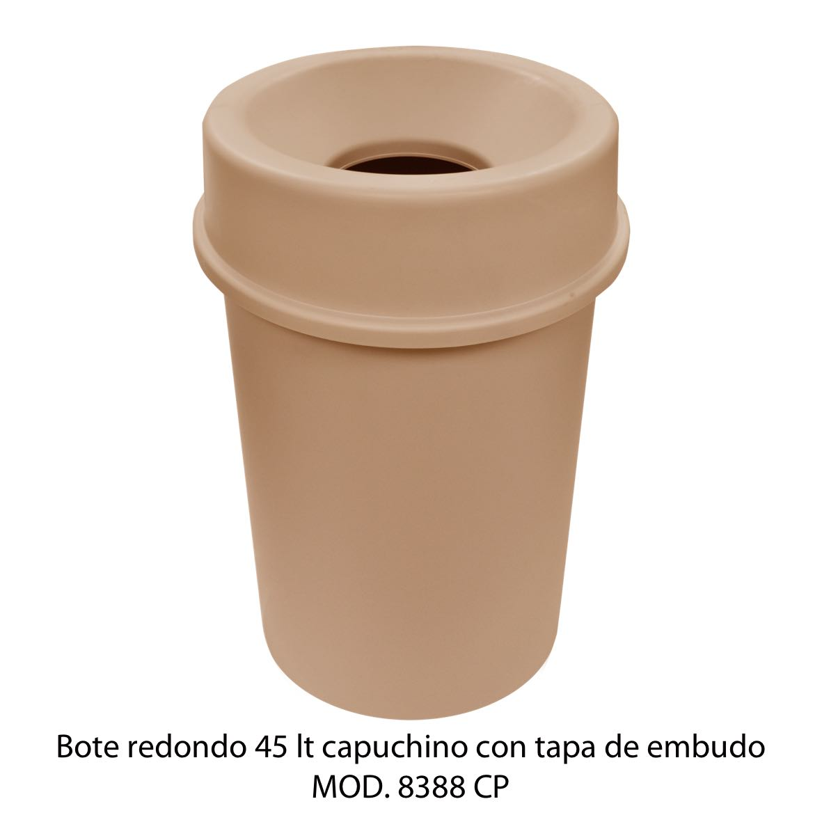 Bote de basura redondo 45 litros con tapa de embudo color capuchino modelo 8388 CP Sablón