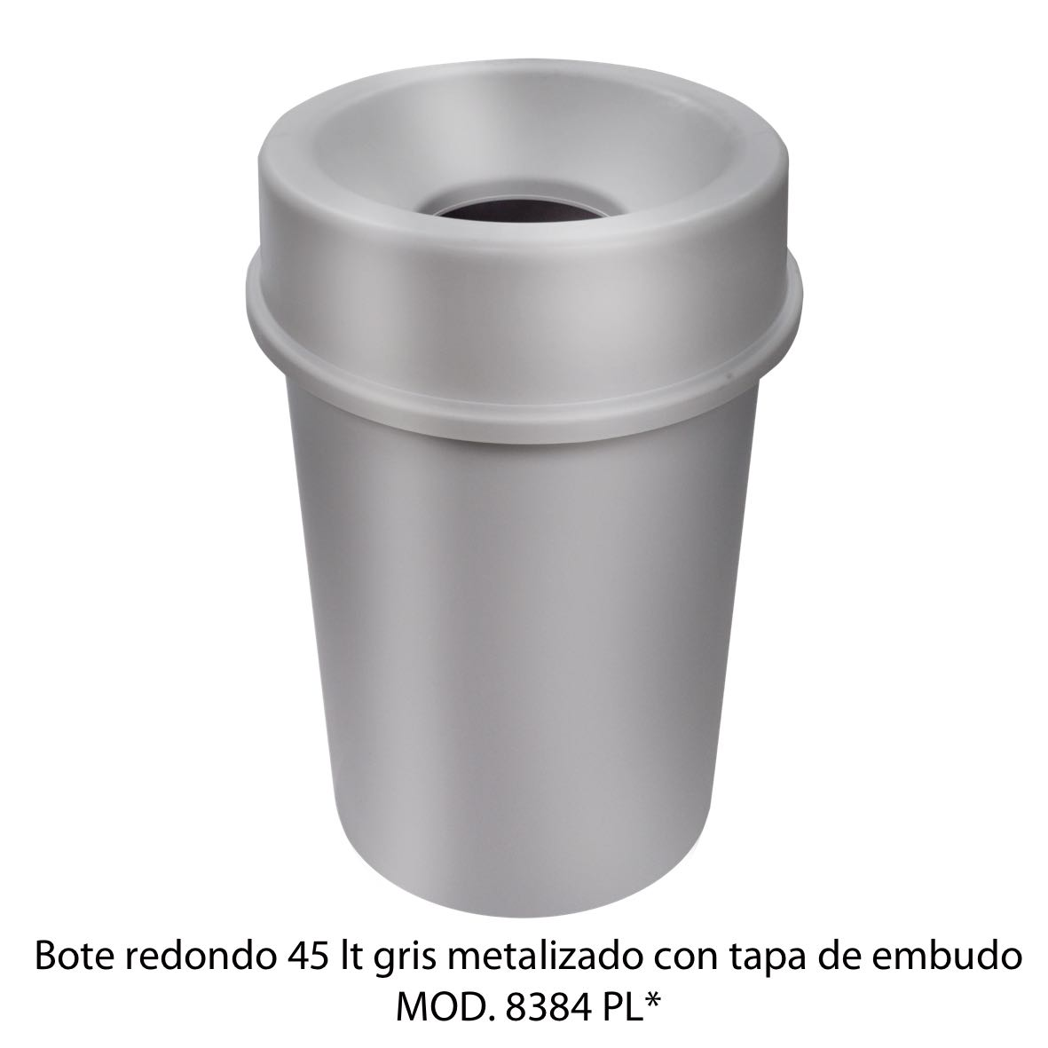 Bote de basura redondo 45 litros con tapa de embudo color gris metalizado modelo 8384 PL Sablón