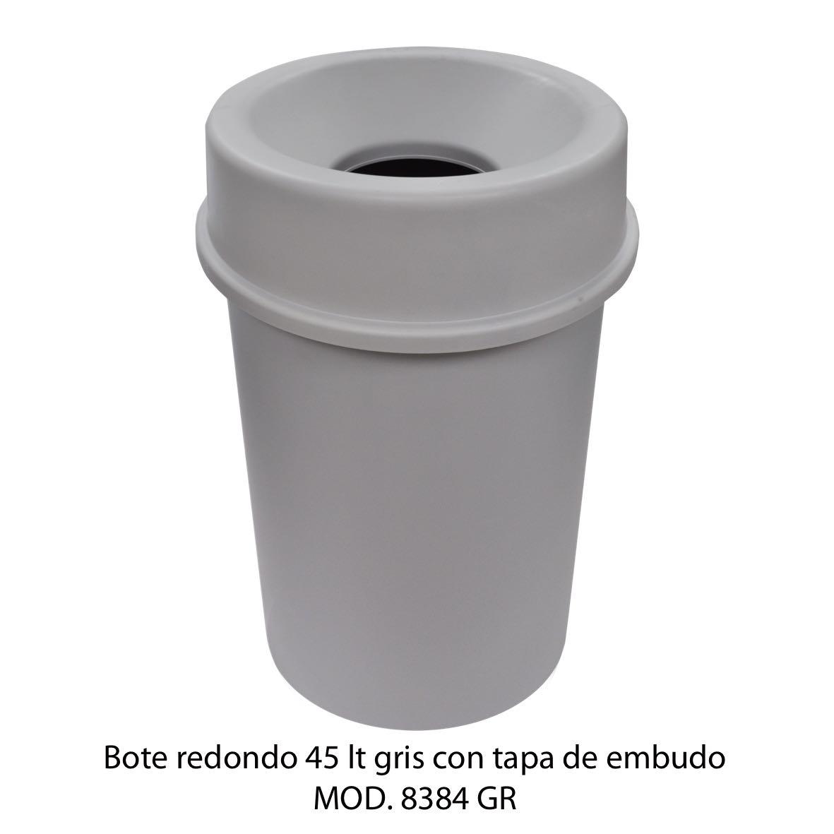 Bote de basura redondo 45 litros con tapa de embudo color gris modelo 8384 GR Sablón