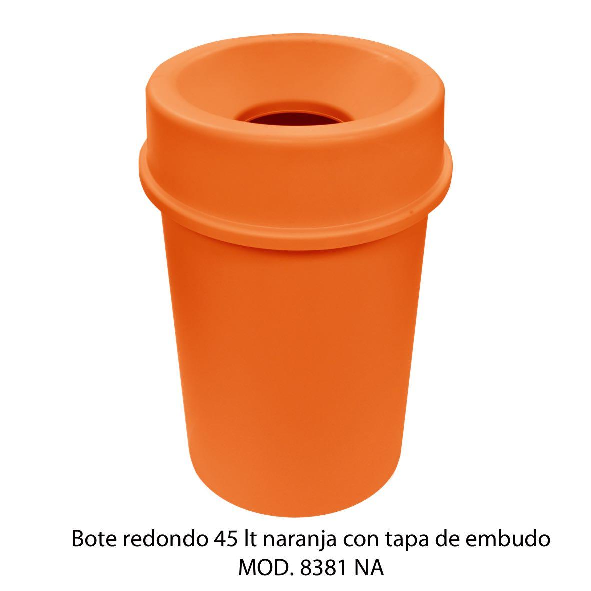 Bote de basura redondo 45 litros con tapa de embudo color naranja modelo 8381 NA Sablón