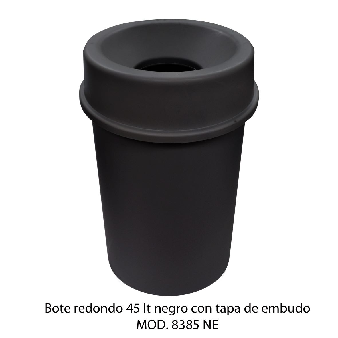 Bote de basura redondo 45 litros con tapa de embudo color negro modelo 8385 NE Sablón