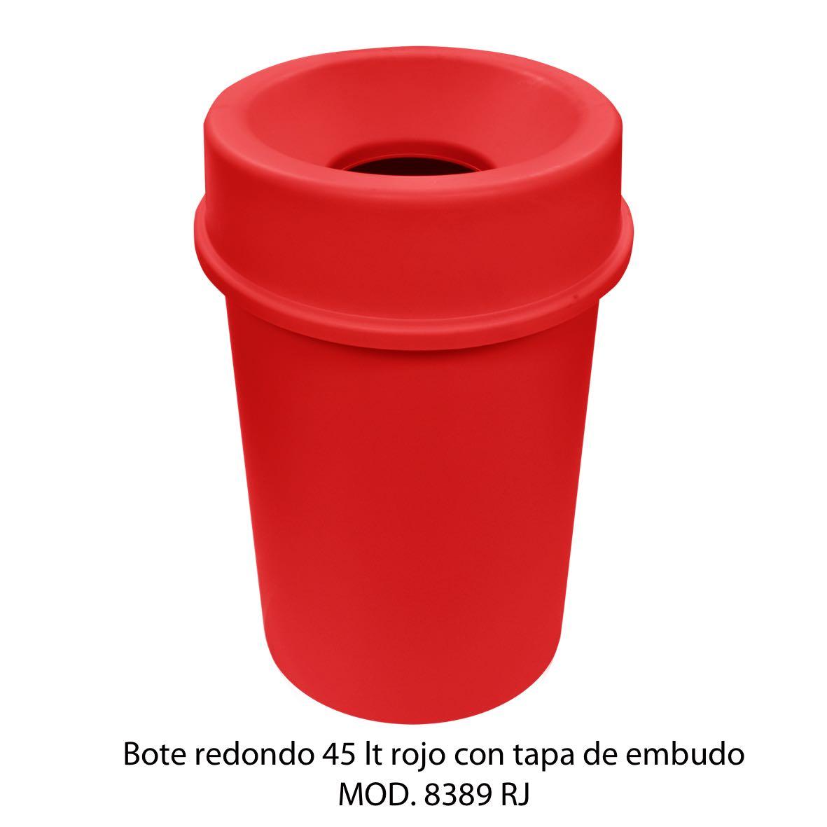 Bote de basura redondo 45 litros con tapa de embudo color rojo modelo 8389 RJ Sablón