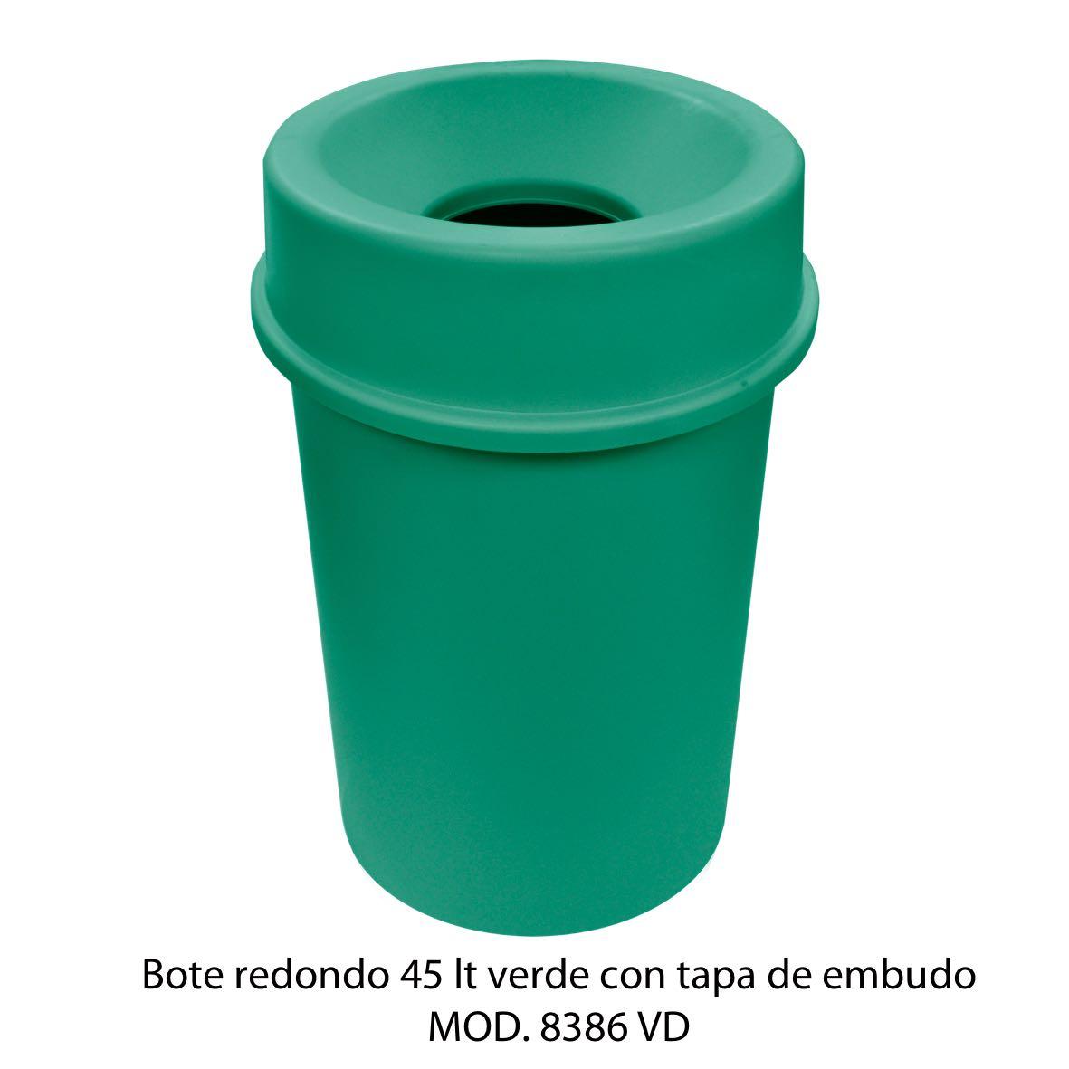 Bote de basura redondo 45 litros con tapa de embudo color verde modelo 8386 VD Sablón
