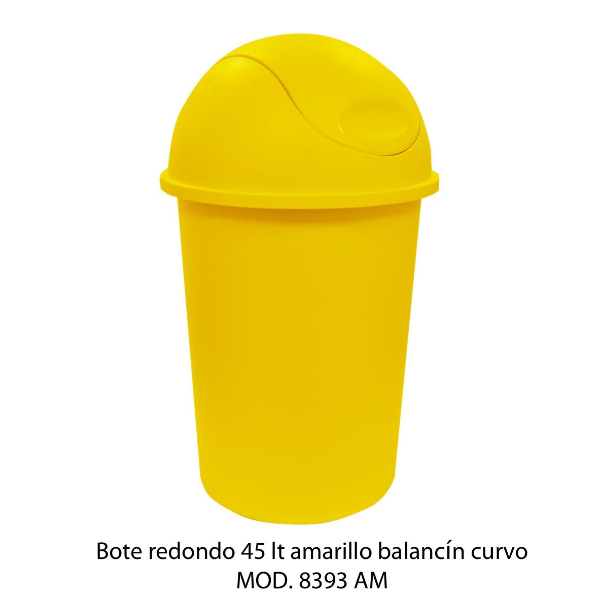 Bote de basura redondo de 45 litros con balancín curvo color amarillo modelo 8393 AM - Sablón