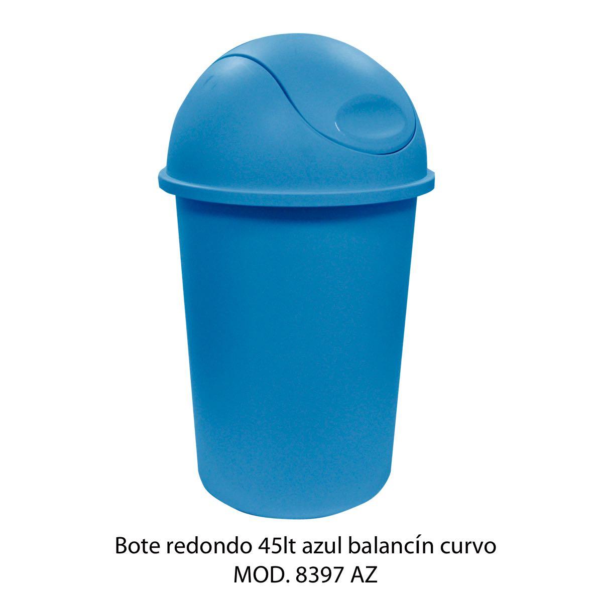Bote de basura redondo de 45 litros con balancín curvo color azul modelo 8397 AZ - Sablón