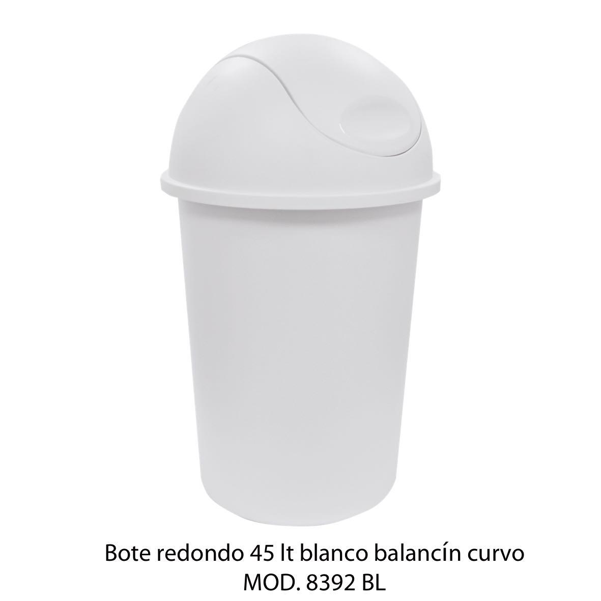 Bote de basura redondo de 45 litros con balancín curvo color blanco modelo 8392 BL - Sablón