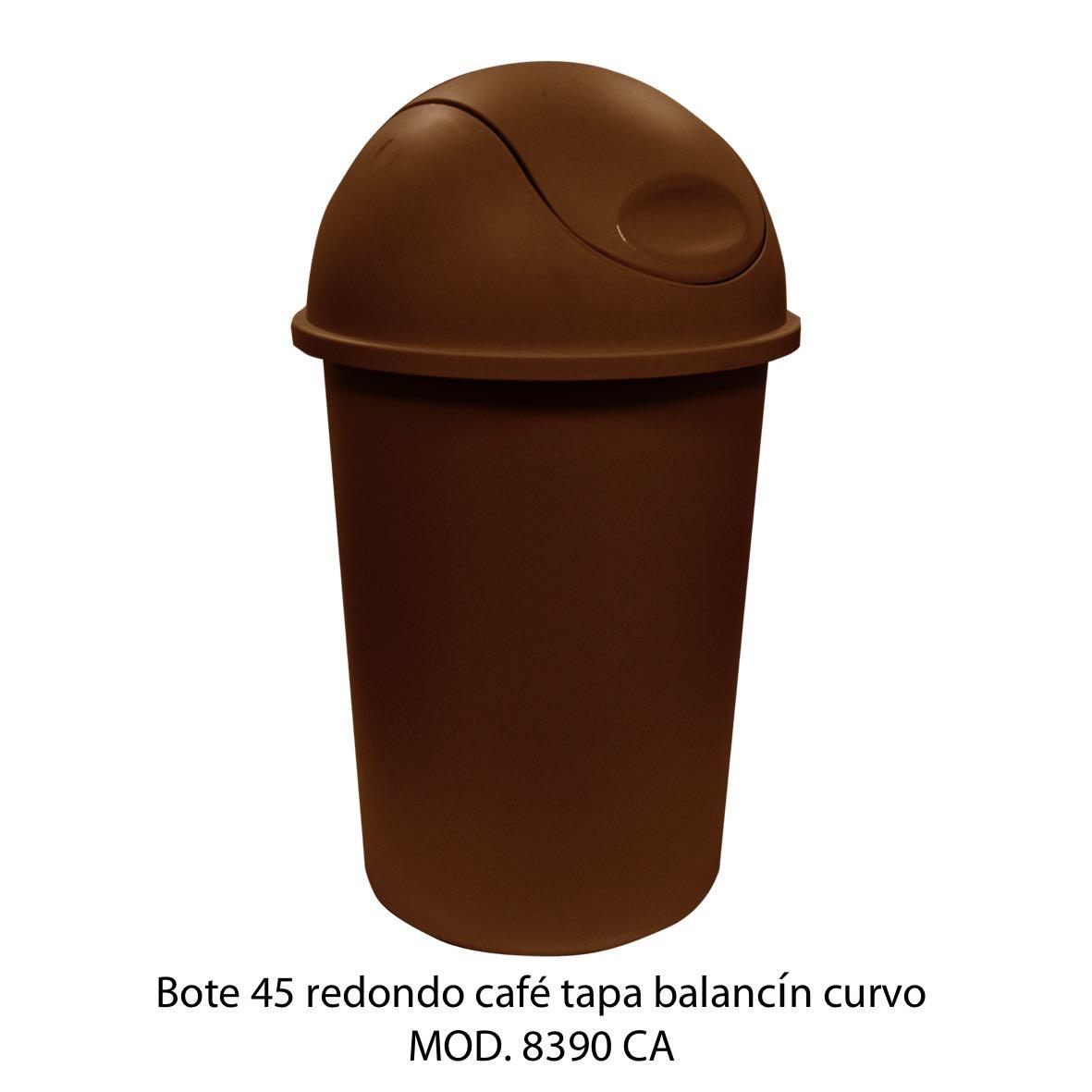 Bote de basura redondo de 45 litros con balancín curvo color cafe modelo 8390 CA - Sablón