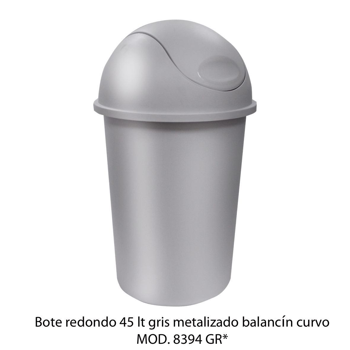 Bote de basura redondo de 45 litros con balancín curvo color gris metalizado modelo 8394 GR - Sablón
