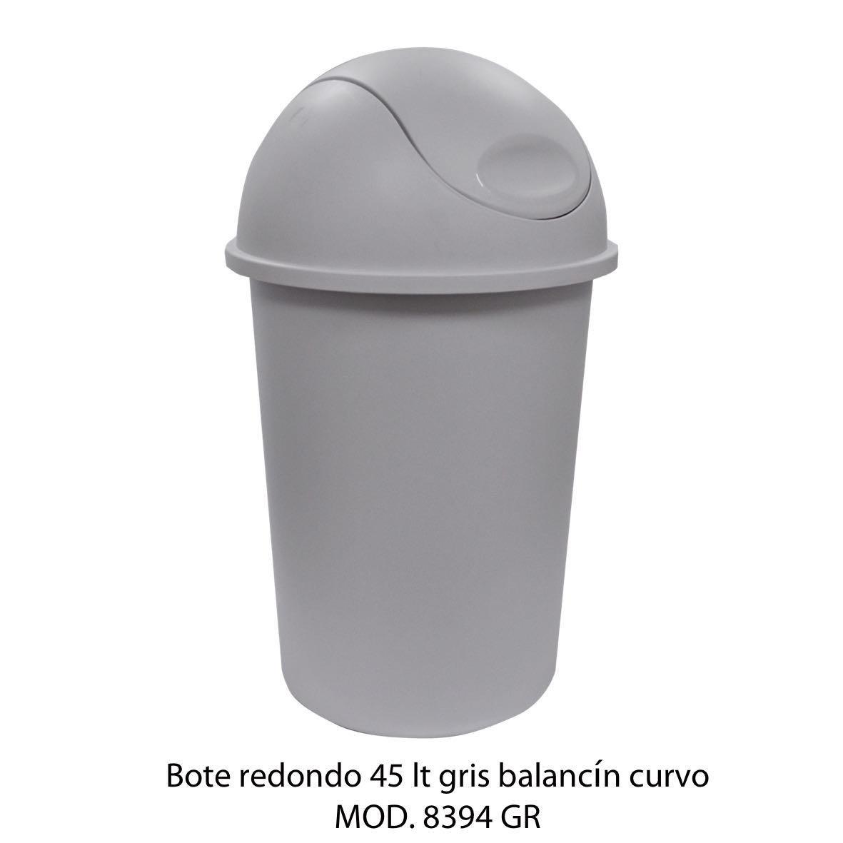 Bote de basura redondo de 45 litros con balancín curvo color gris modelo 8394 GR - Sablón