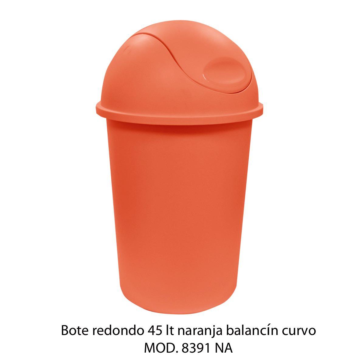Bote de basura redondo de 45 litros con balancín curvo color naranja modelo 8391 NA - Sablón