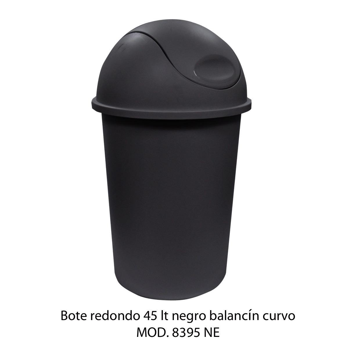 Bote de basura redondo de 45 litros con balancín curvo color negro modelo 8395 NE - Sablón