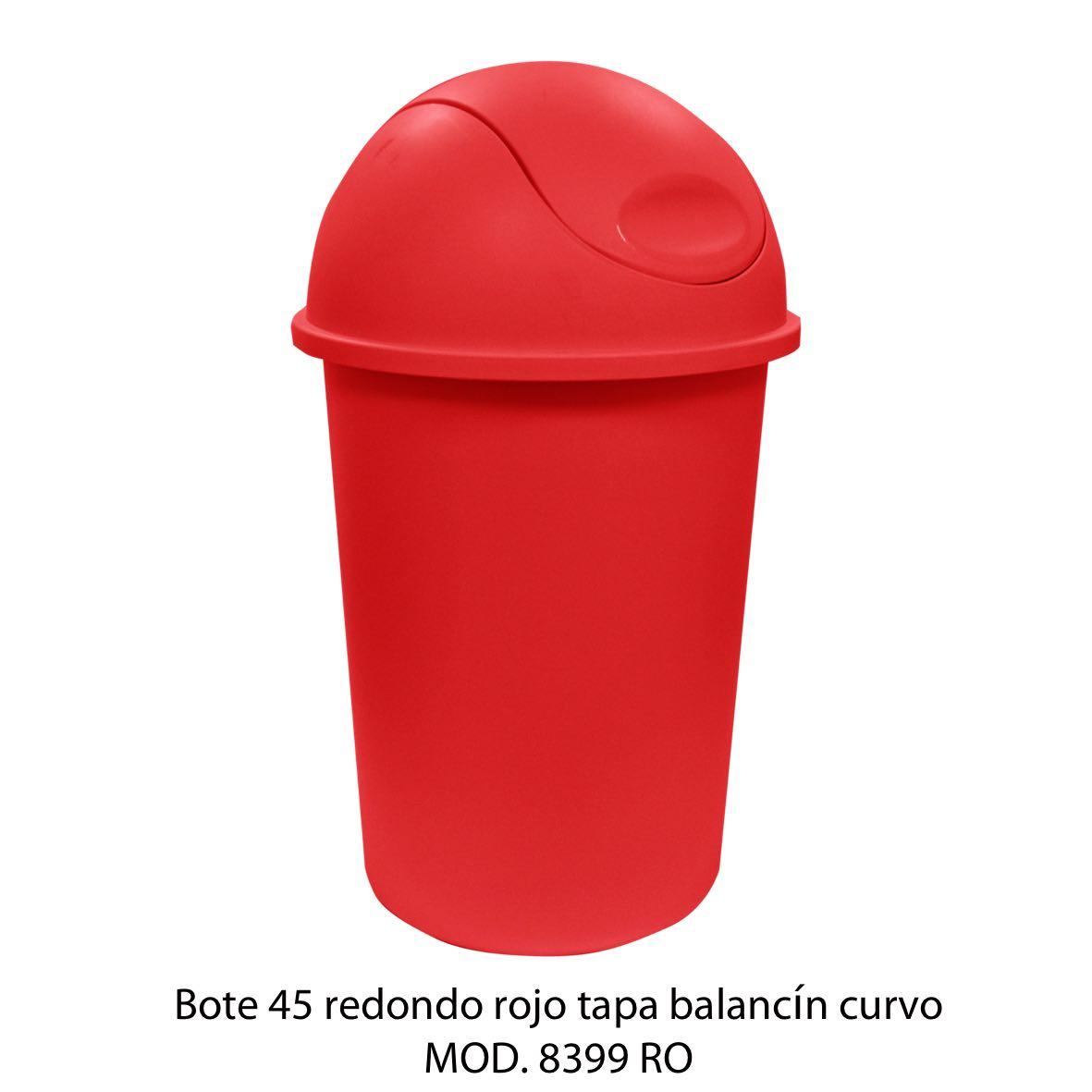 Bote de basura redondo de 45 litros con balancín curvo color rojo modelo 8399 RO - Sablón