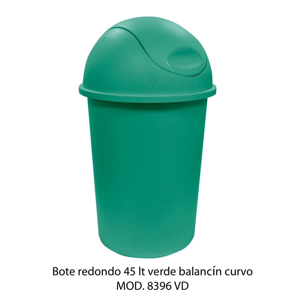 Bote de basura redondo de 45 litros con balancín curvo color verde modelo 8396 VD - Sablón