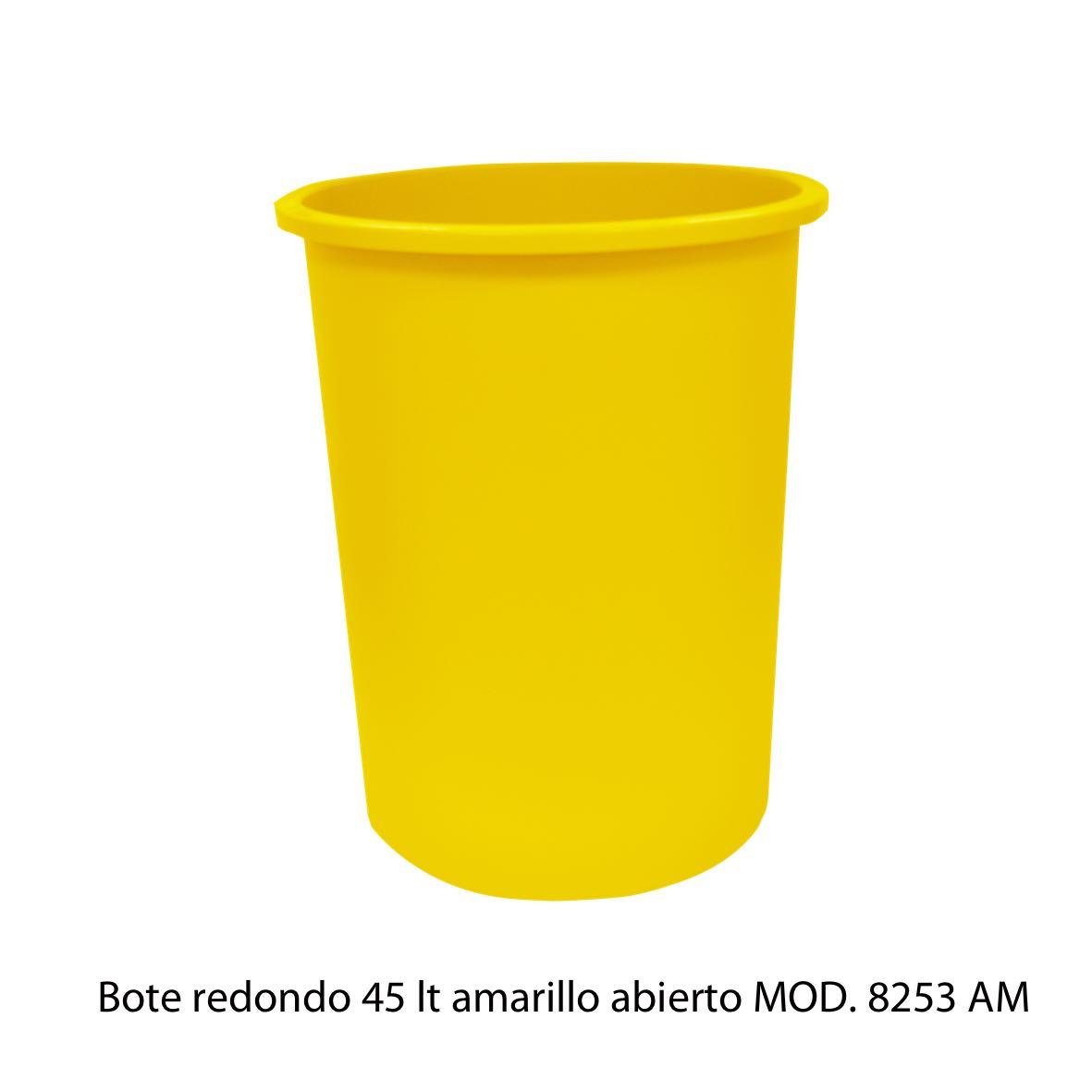 Bote de basura redondo de 45 litros sin tapa color amarillo modelo 8253 AM - Sablón