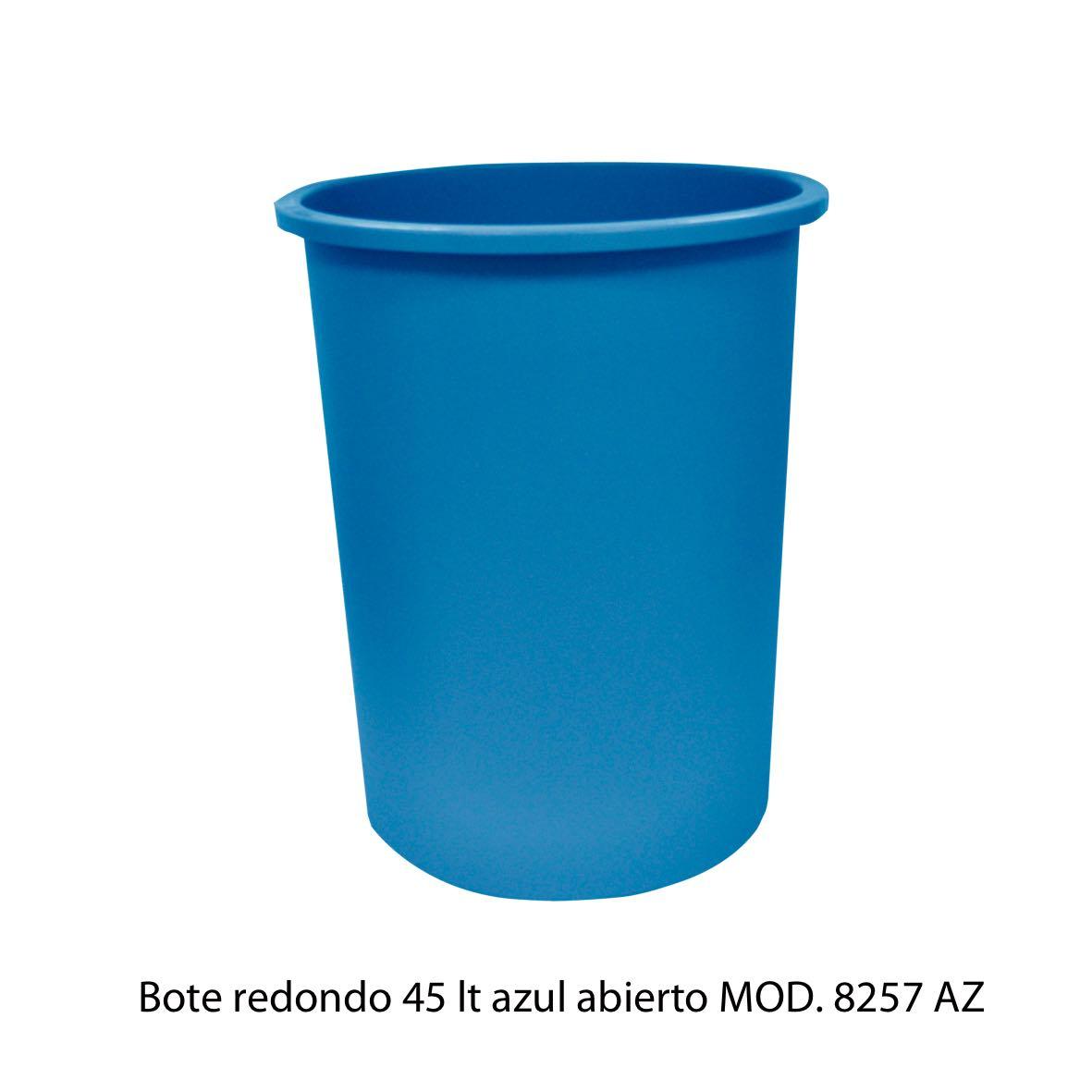 Bote de basura redondo de 45 litros sin tapa color azul modelo 8257 AZ Sablón