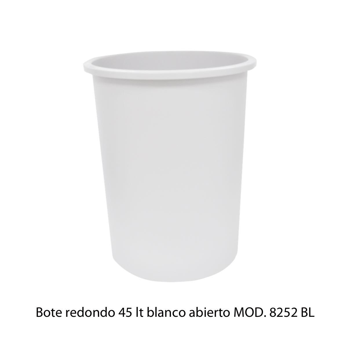 Bote de basura redondo de 45 litros sin tapa color blanco modelo 8252 BL Sablón