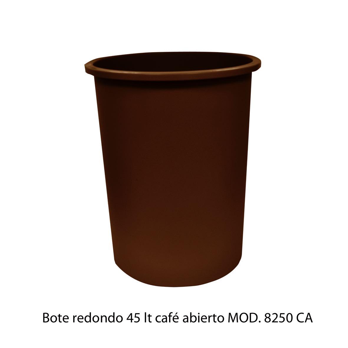 Bote de basura redondo de 45 litros sin tapa color cafe modelo 8250 CA Sablón