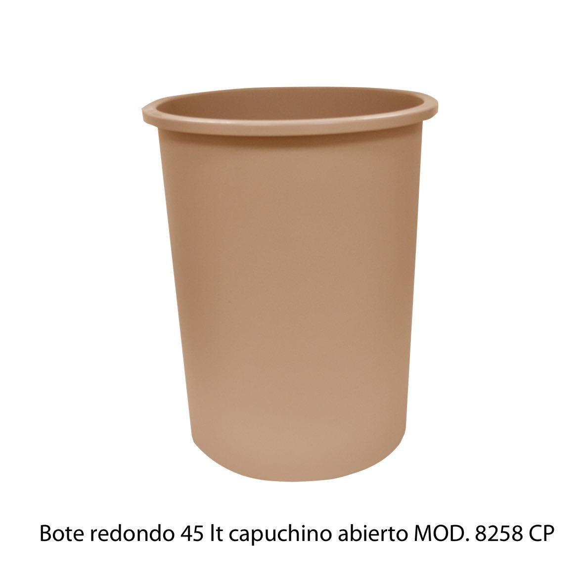 Bote de basura redondo de 45 litros sin tapa color capuchino modelo 8258 CP Sablón