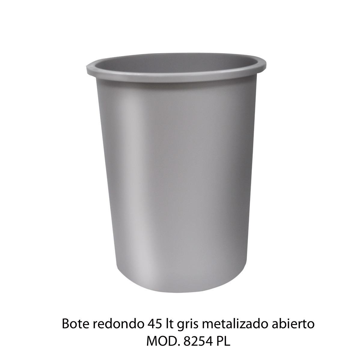 Bote de basura redondo de 45 litros sin tapa color gris metalizado modelo 8254 PL Sablón