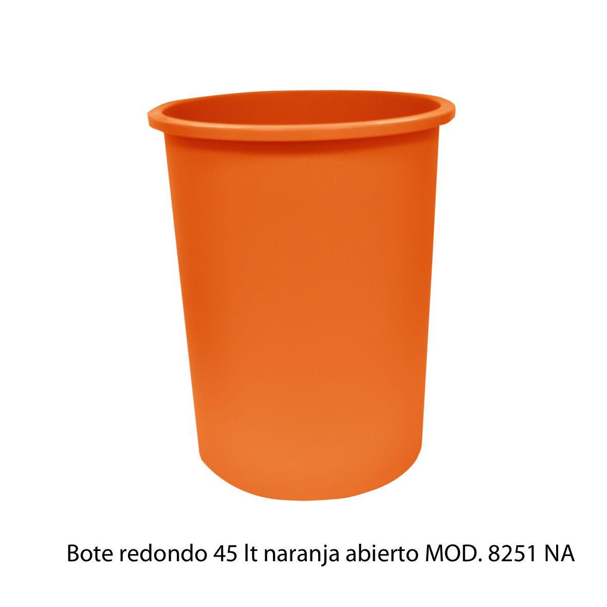 Bote de basura redondo de 45 litros sin tapa color naranja modelo 8251 NA Sablón
