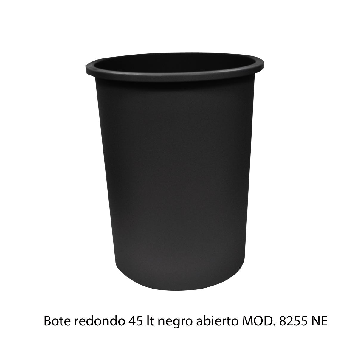 Bote de basura redondo de 45 litros sin tapa color negro modelo 8255 NE Sablón