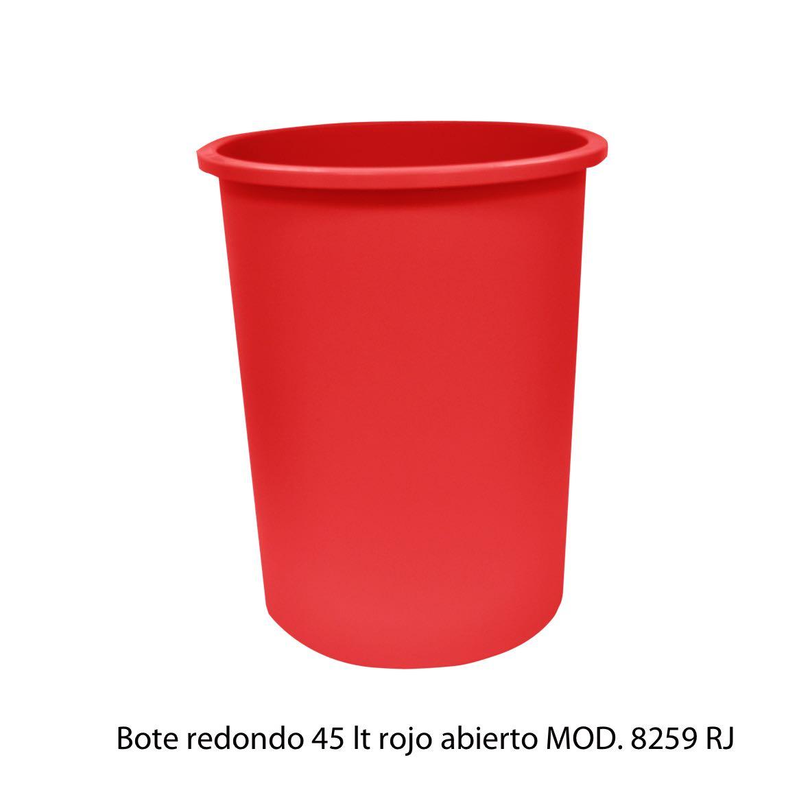 Bote de basura redondo de 45 litros sin tapa color rojo modelo 8259 RJ Sablón