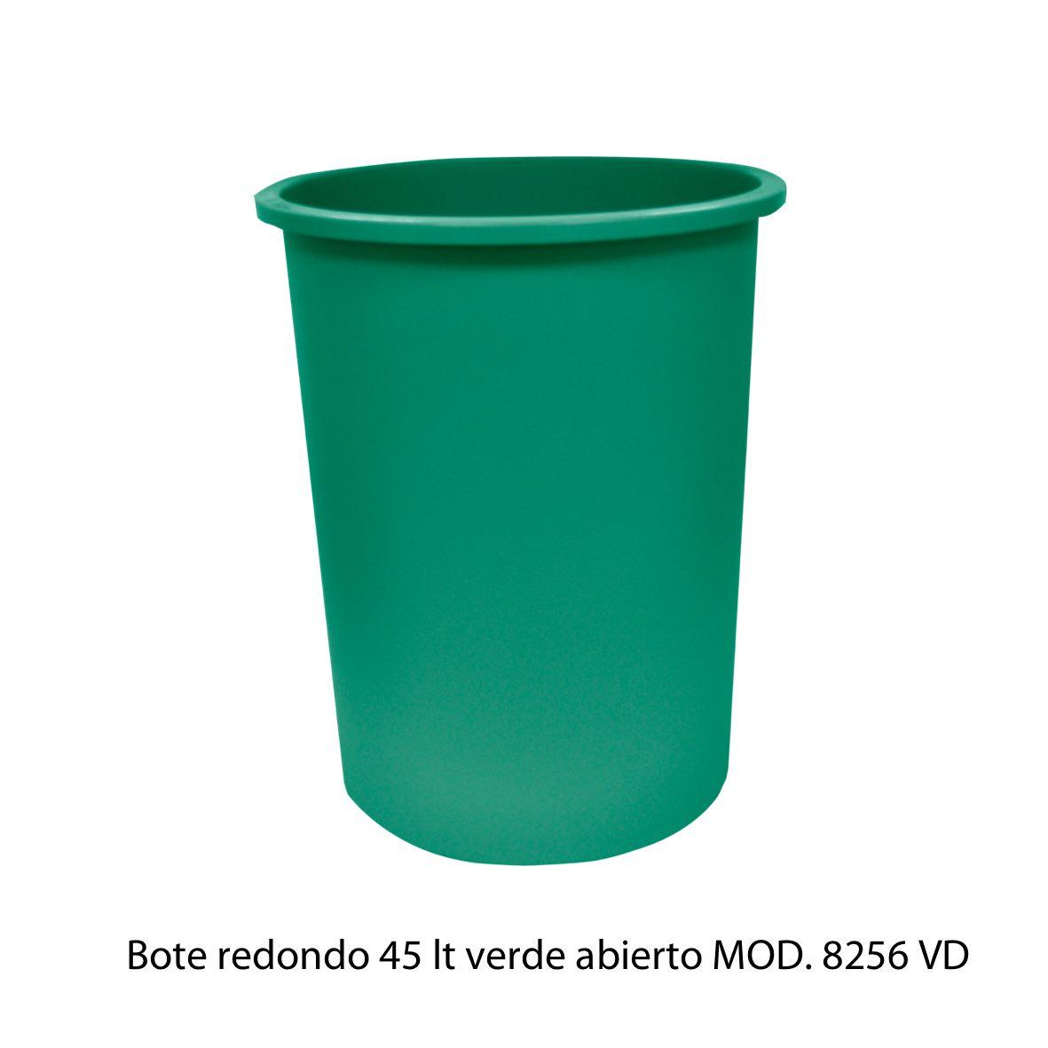 Bote de basura redondo de 45 litros sin tapa color verde modelo 8256 VD Sablón