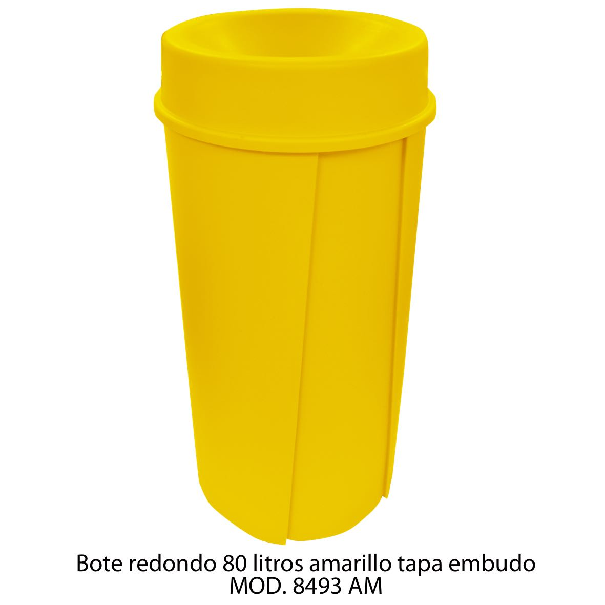 Bote de basura redondo de 80 litros con tapa embudo color amarillo modelo 8493 AM Sablón