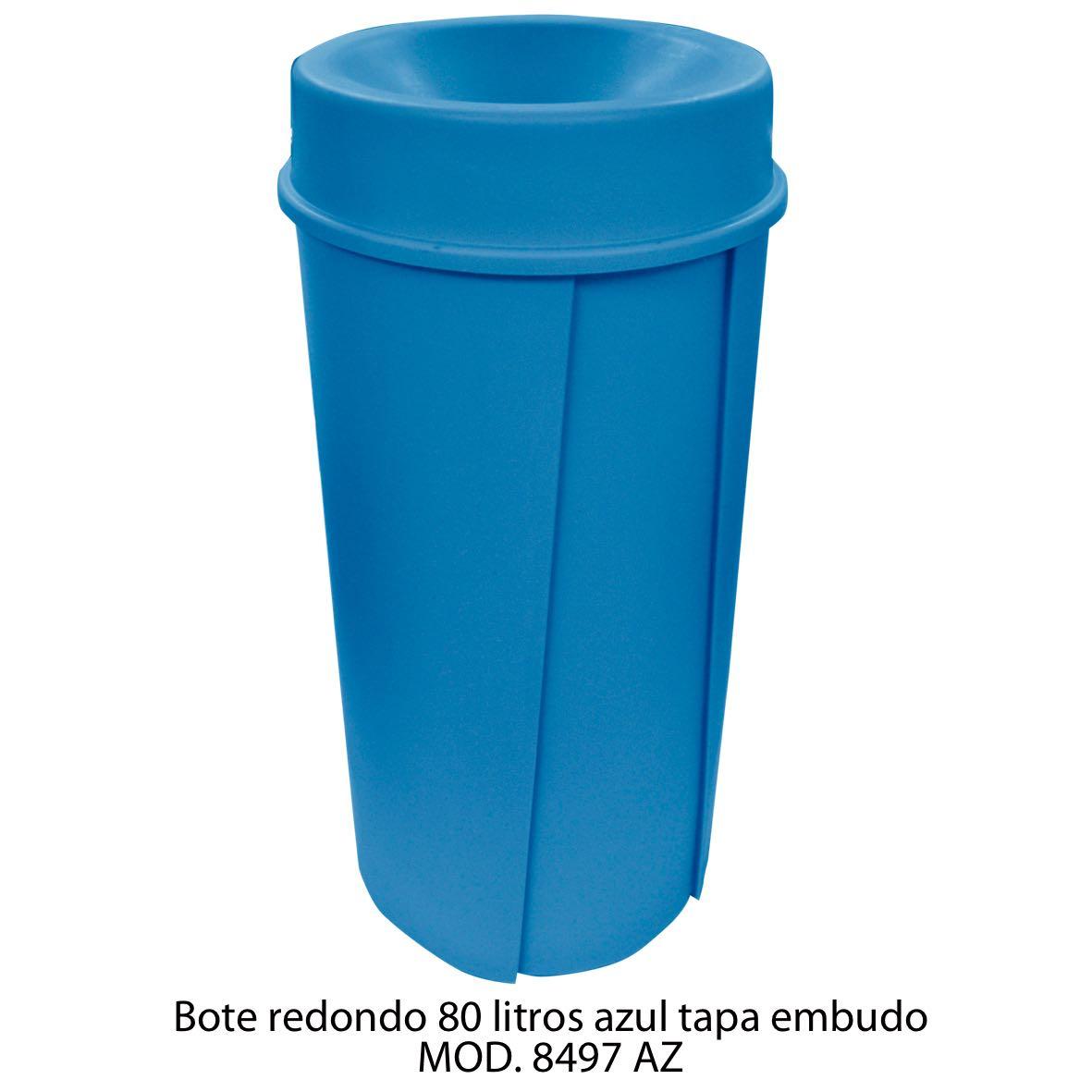 Bote de basura redondo de 80 litros con tapa embudo color azul modelo 8497 AZ Sablón