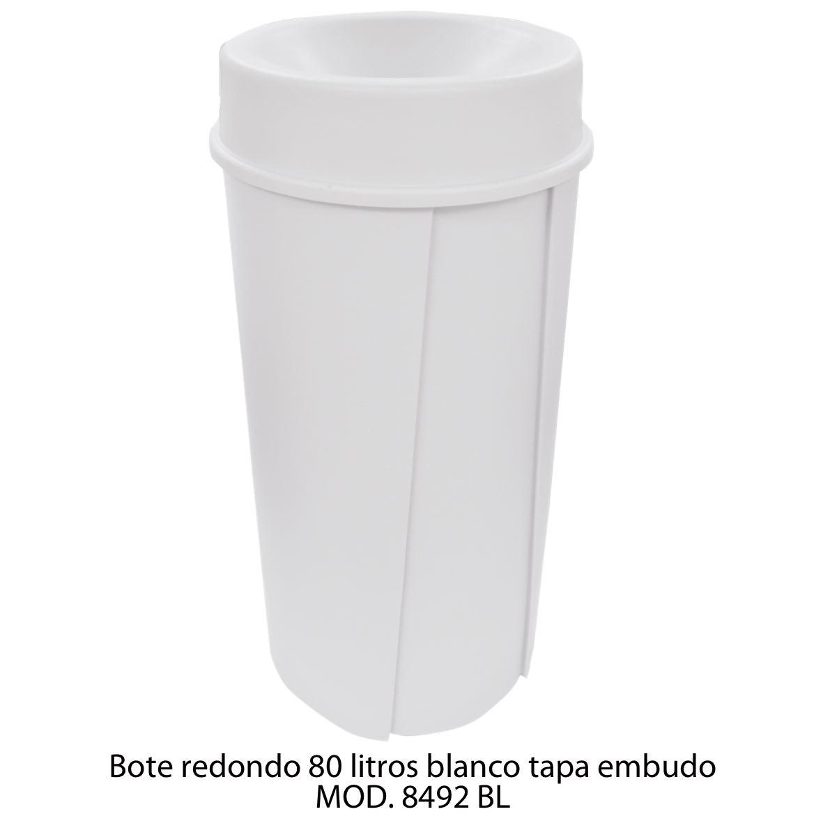 Bote de basura redondo de 80 litros con tapa embudo color blanco modelo 8492 BL Sablón
