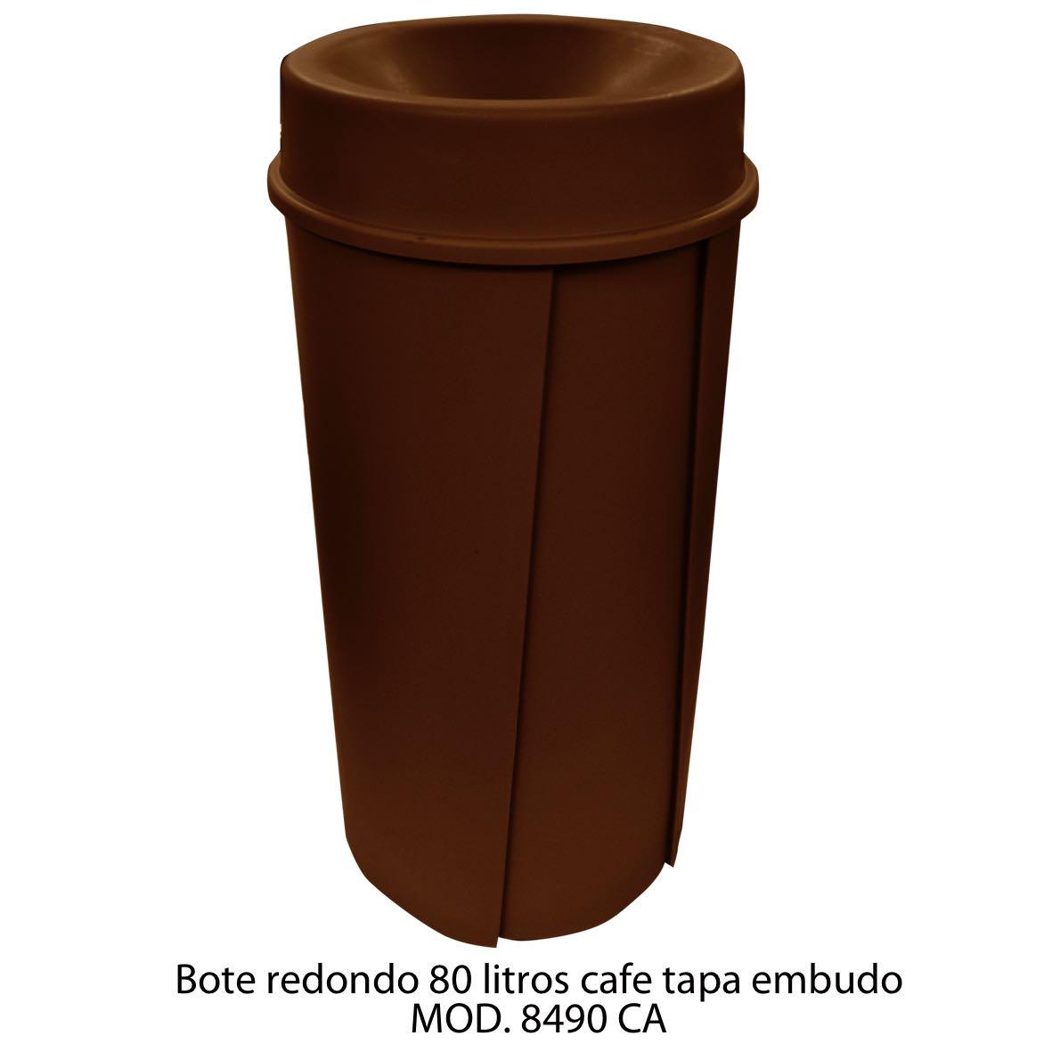 Bote de basura redondo de 80 litros con tapa embudo color cafe modelo 8490 CA Sablón
